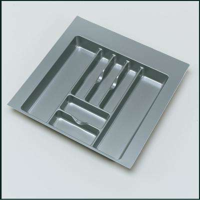 2.375 in. H x 21.87 in. W x 21.25 in. D Extra Large Glossy Silver Cutlery Tray Drawer Insert