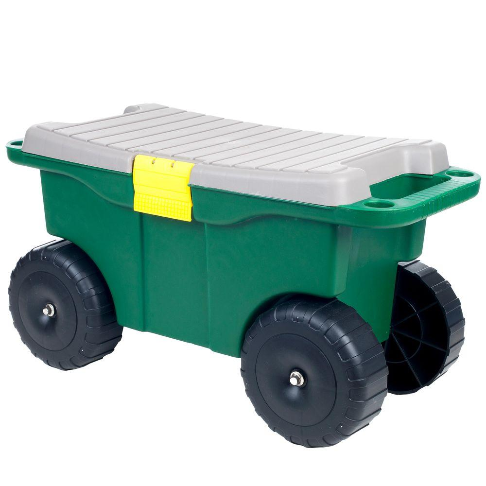 Pure Garden 20 In. Plastic Garden Storage Cart And Scooter 75 MJ2011   The  Home Depot