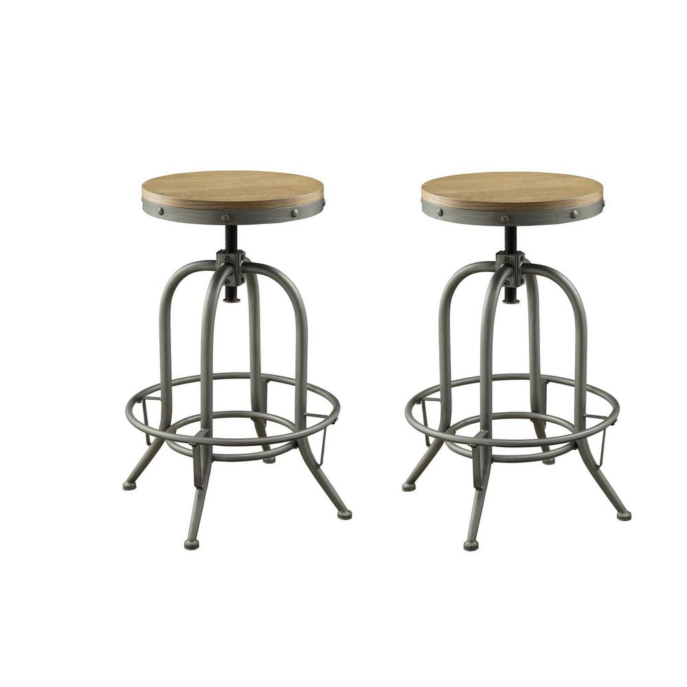 Coaster Home Furnishings Brown and Graphite Adjustable Bar Stools Weathered (Set of 2), Brown/Graphite Coaster Home Furnishings Brown and Graphite Adjustable Bar Stools Weathered (Set of 2), Brown/Graphite.