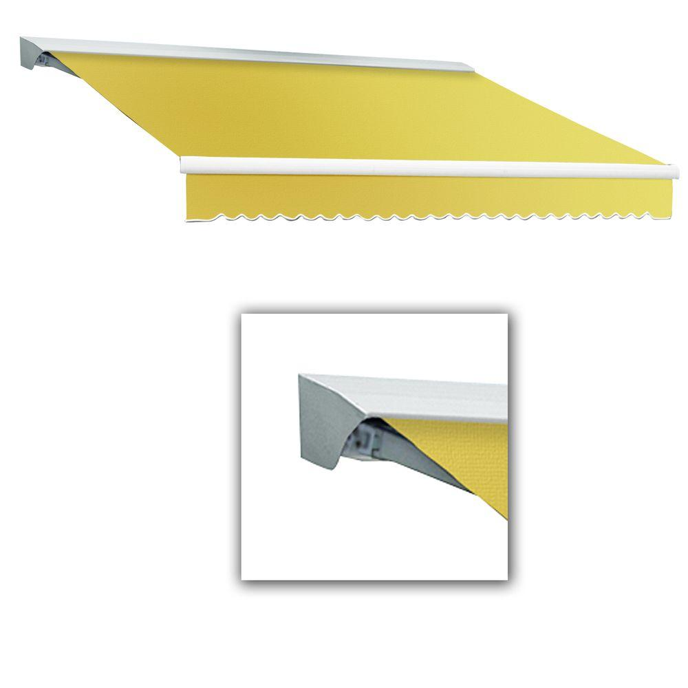 AWNTECH 8 ft. Destin-LX Manual Retractable Acrylic Awning with Hood (84 in. Projection) in Light Yellow/White