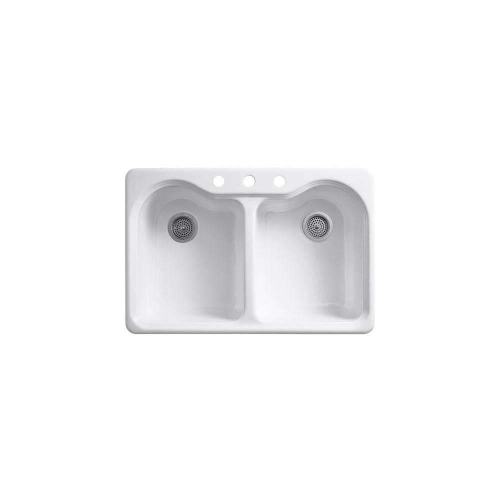 KOHLER Hartland Drop-In Cast Iron 33 in. 3-Hole Double Bowl Kitchen Sink in White