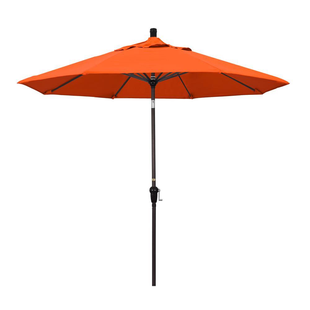 9 ft. Bronze Aluminum Market Auto-tilt Crank Lift Patio Umbrella in Melon Sunbrella