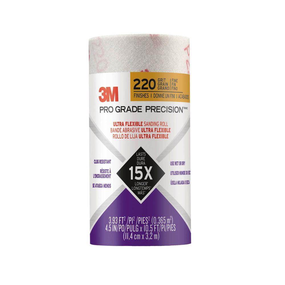 3M Pro Grade Precision 4-1/2 in. x 10-1/2 ft. 220 Grit Fine Ultra Flexible Sanding Roll