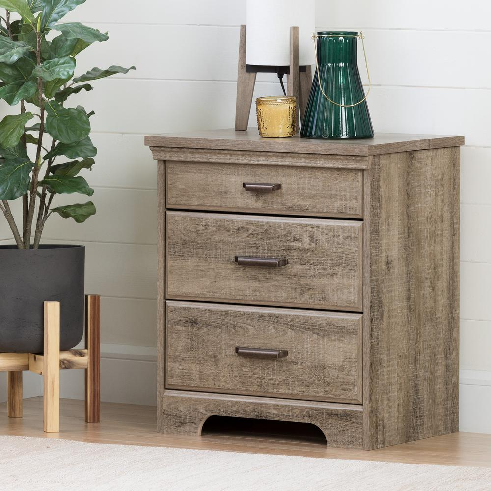 South Shore Versa 2 Drawer Nightstand In Weathered Oak