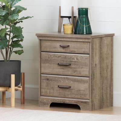 Versa 2 Drawer Nightstand In Weathered Oak