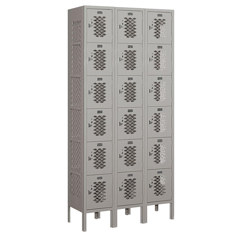 Salsbury Industries 76000 Series 36 in. W x 78 in. H x 12 in. D Six Tier Box Style Vented Metal Locker Unassembled in Gray