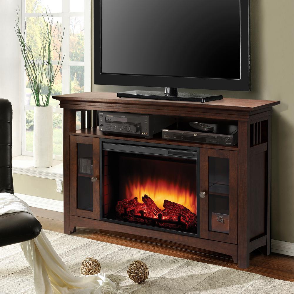 Wyatt 48 in. Freestanding Electric Fireplace TV Stand in Burnished Oak