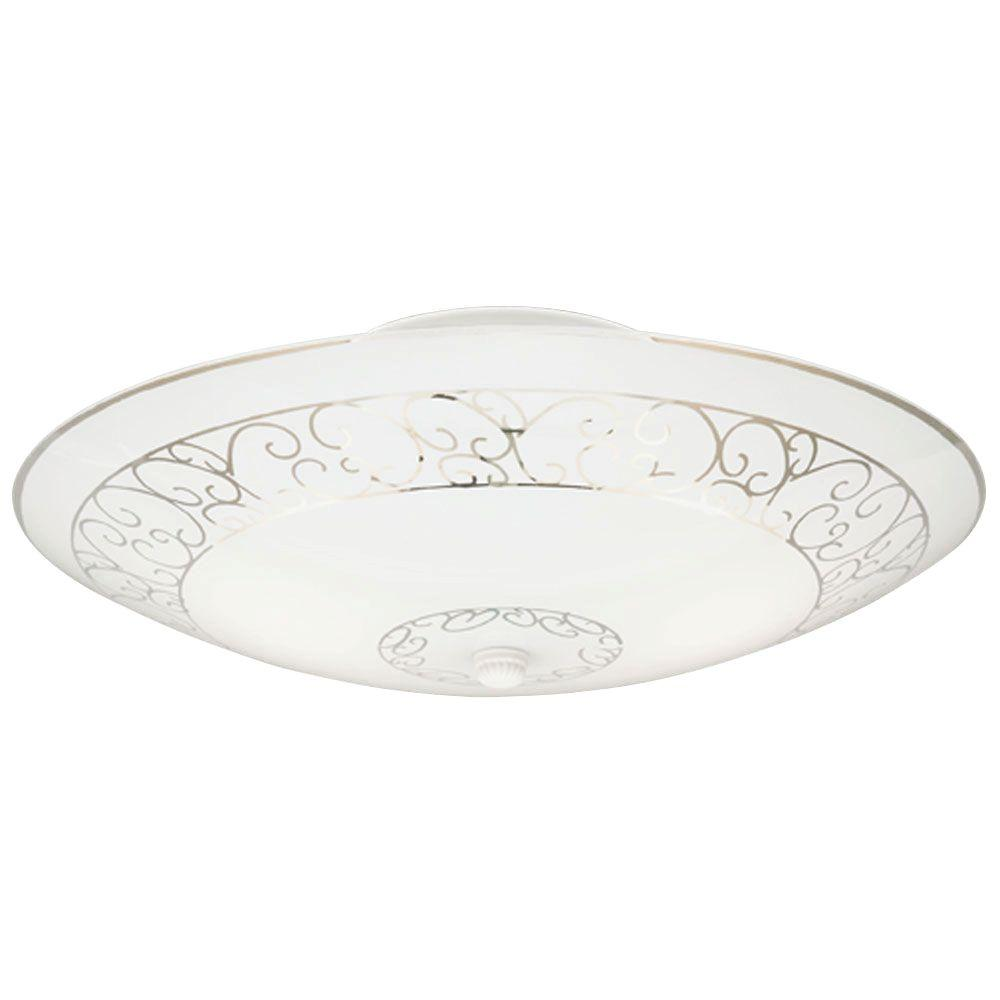 Westinghouse Westinghouse 2-Light White with Scroll Design Semi-Flush Mount