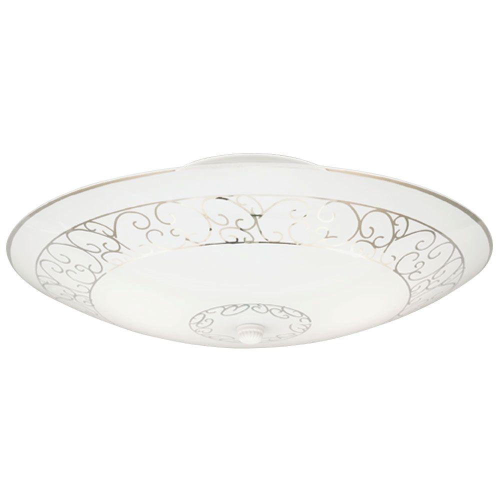 2-Light White Interior Ceiling Semi-Flush Mount Light with White Scroll Design Glass
