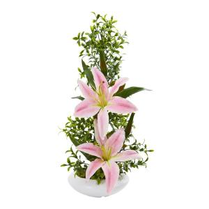 Indoor Lily and Boxwood Artificial Arrangement in White Planter