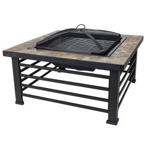 Cascade Slate Top 34 in. W x 22.5 in. H Square Steel Wood Burning Rubbed Bronze Fire Pit