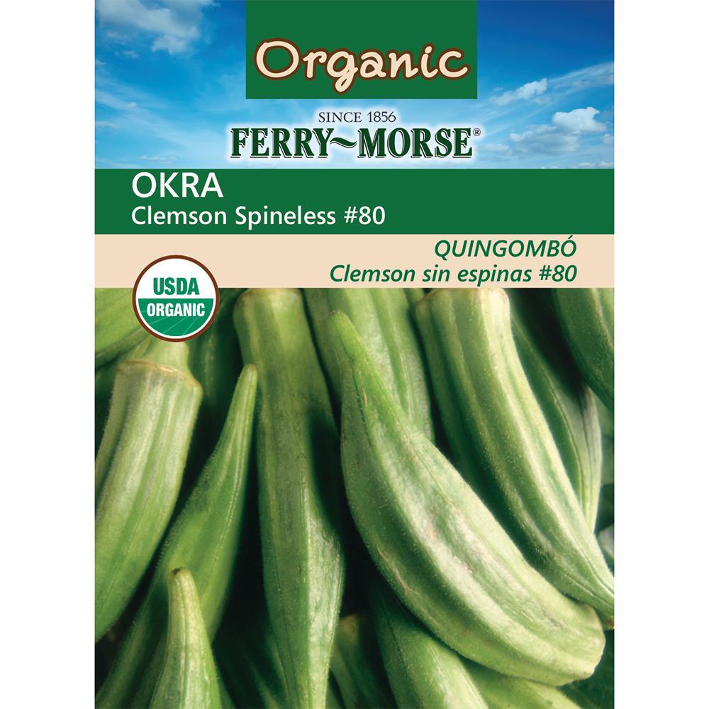 Okra Clemson Spineless Organic Seed