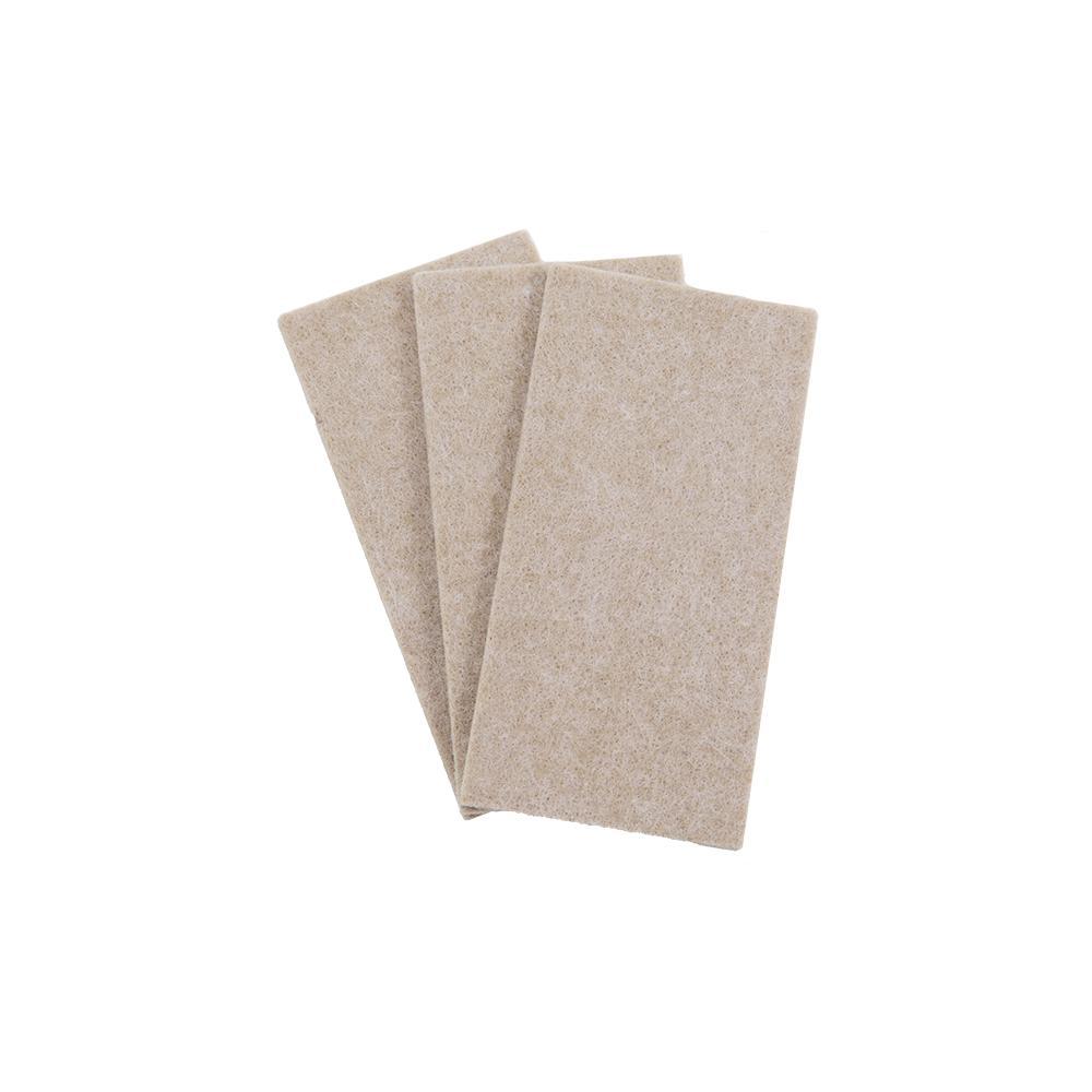 2 in. x 4 in. Heavy-Duty Self-Adhesive Beige Felt Blanket (3-Pack)