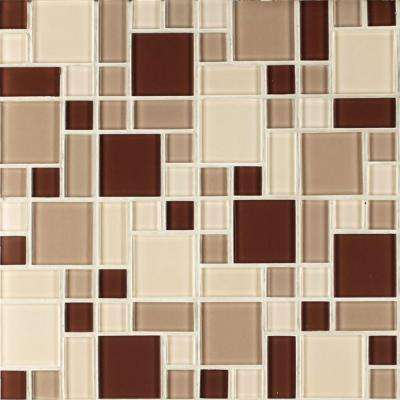 Beige and Brown 12 in. x 12 in. x 6 mm Peel and Stick Glass Mosaic Wall Tile