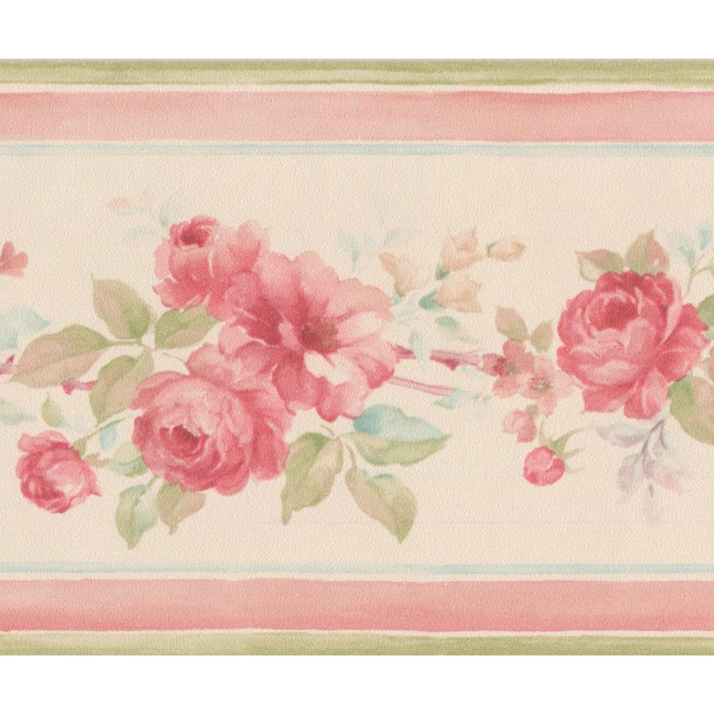 Hot Pink Roses Beige Floral Prepasted Wallpaper Border