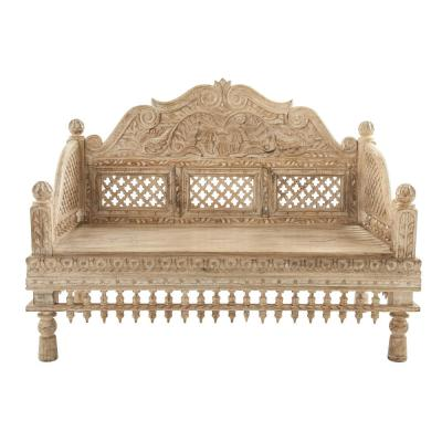 Brown Handcarved Mango Wood Bench