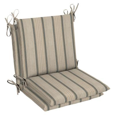 Belcourt 19 x 36 Sunbrella Cove Pebble Mid Back Outdoor Dining Chair Cushion (2-Pack)