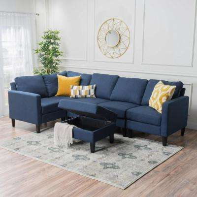 6-Piece Dark Blue Fabric Sectional and Ottoman Set