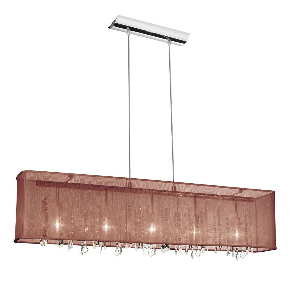Radionic Hi Tech Bohemian 5 Light Polished Chrome Horizontal Crystal Chandelier With Brown Organza Rectangular