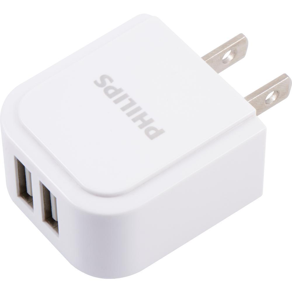 2.4 Amp 2-Port AC USB Charger, White