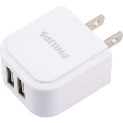 2.4 Amp 2-Port AC USB Charger, White