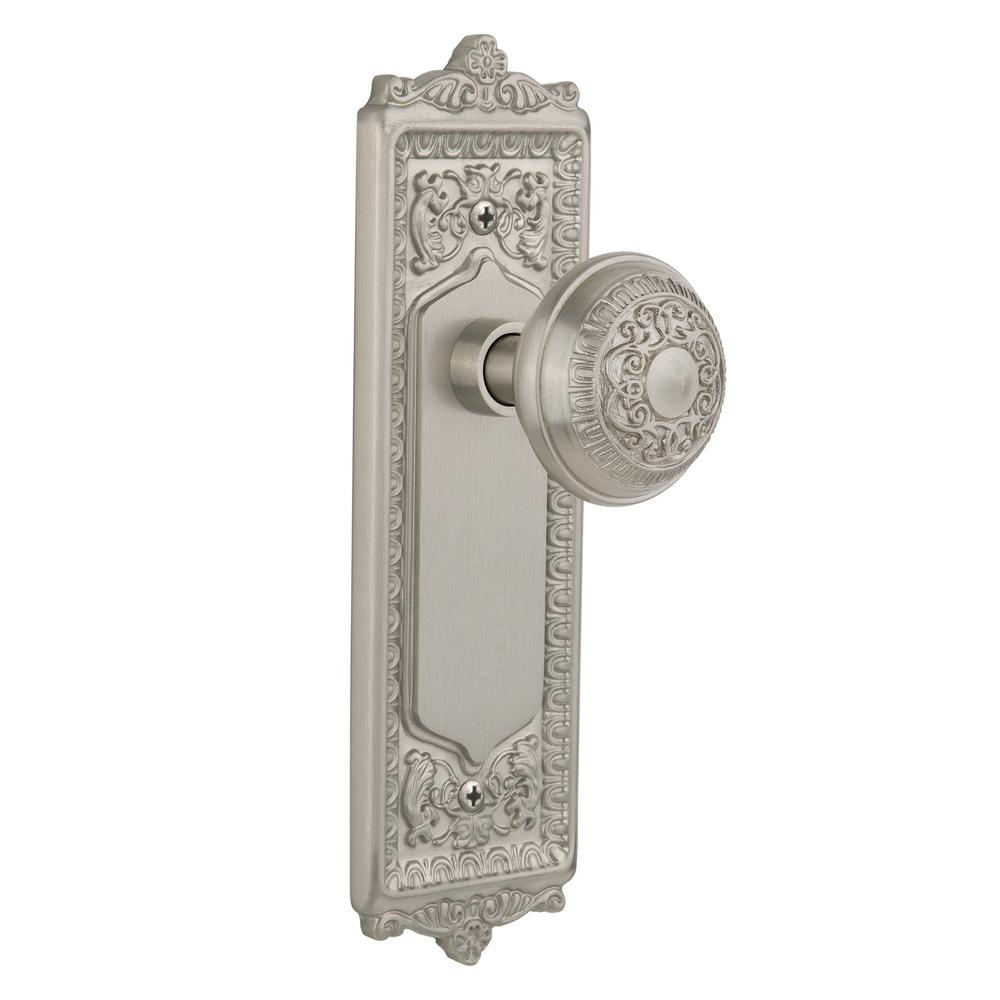 Egg and Dart Plate 2-3/8 in. Backset Satin Nickel Passage Hall/Closet