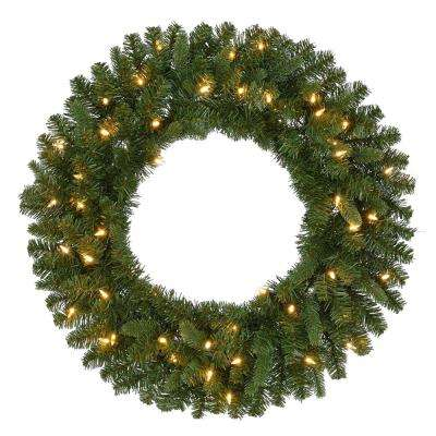 30 in. Pre-Lit Battery Operated LED Sierra Nevada Artificial Christmas Wreath with Warm White Lights