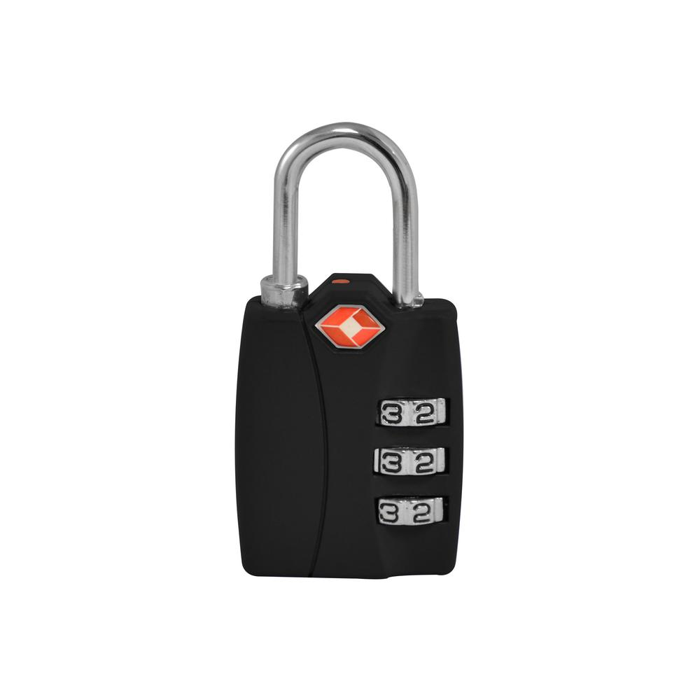 3 Digit Combination Padlock in Black - TSA Approved