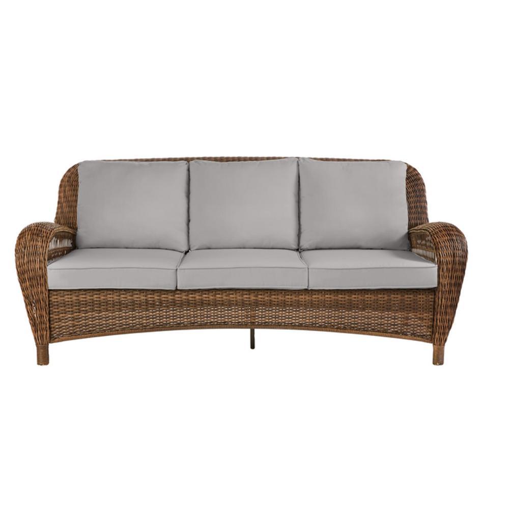 Beacon Park Brown Wicker Outdoor Patio Sofa with CushionGuard Stone Gray Cushions