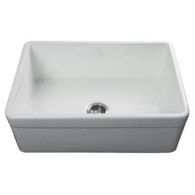 Luxury 30 inch Fireclay Modern Farmhouse Kitchen Sink in White, Single Bowl with Belted Front, Includes Drain