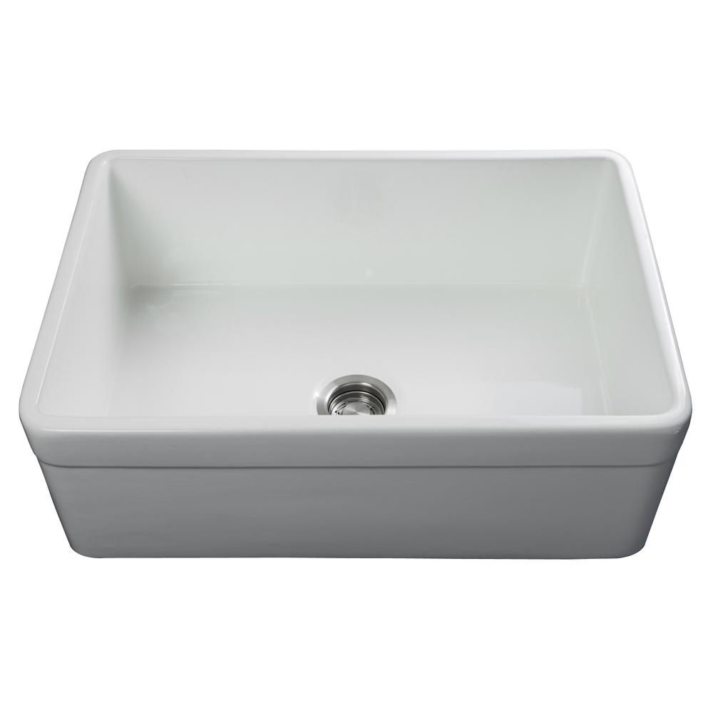 Fossil Blu Luxury 30 inch Fireclay Modern Farmhouse Kitchen Sink in White,  Single Bowl with Belted Front, Includes Drain