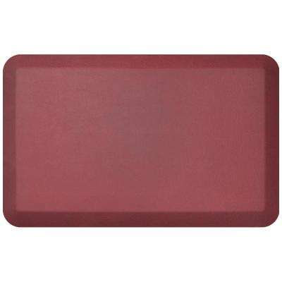 Designer Leather Grain Cranberry 20 in. x 32 in. Anti-Fatigue Comfort Kitchen Mat