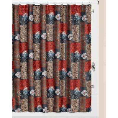 Borneo' Multi-Color Shower Curtain and Matching Bath Rug Set