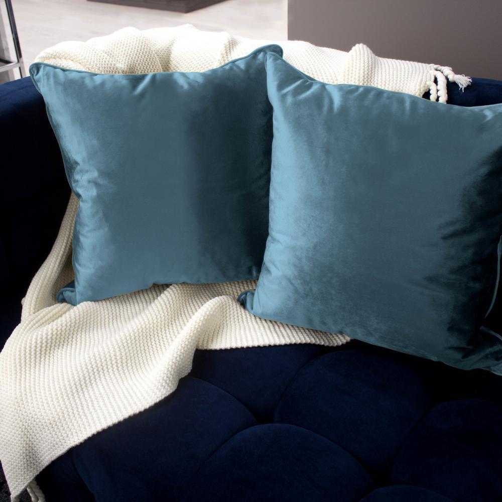 Lucas Velvet Navy Solid Polyester 20 in. x 20 in. Throw Pillow (Set of 2)