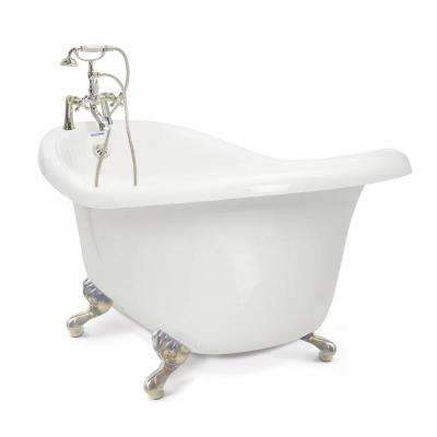 Acrylic Slipper Clawfoot Bathtub Package In White With Satin Nickel  Imperial Feet