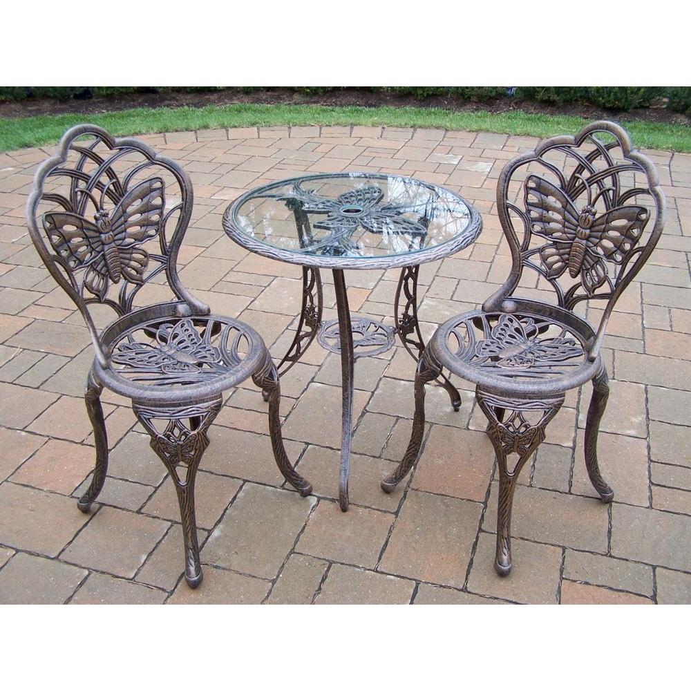 Oakland Living Butterfly 3-Piece Patio Bistro Set in Antique Bronze