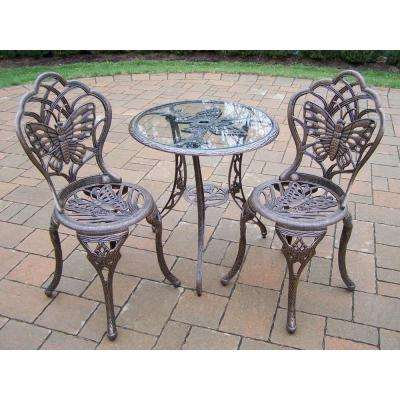 Butterfly 3-Piece Patio Bistro Set in Antique Bronze