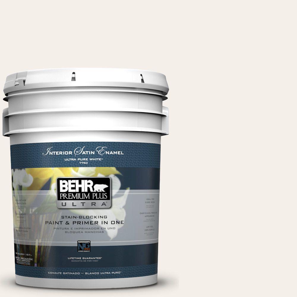 BEHR Premium Plus Ultra 5-gal. #GR-W15 Palais White Satin Enamel Interior Paint
