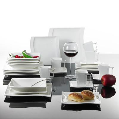 FLORA 30-Piece White Porcelain Dishes Dinnerware Set Dinner Plates Cups and Saucers Set (Service for 6)