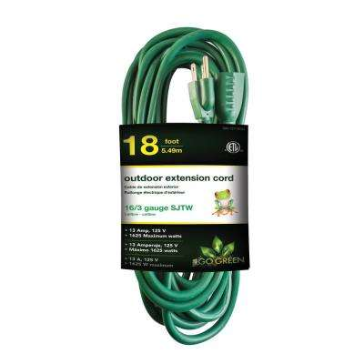 18 ft. 16/3 Heavy Duty Extension Cord, Green