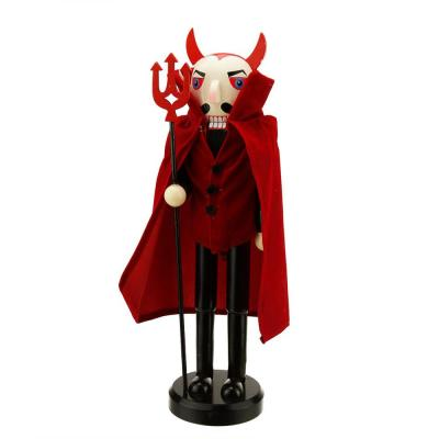14 in. Red Devil Wooden Halloween Nutcracker