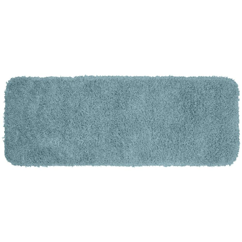 Jazz Basin Blue 22 in. x 60 in. Washable Bathroom Accent
