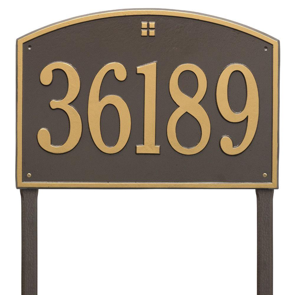 Whitehall Products Cape Charles Rectangular Estate Bronze/Gold Lawn 1-Line Address Plaque