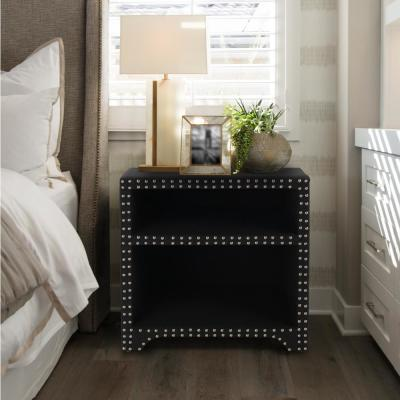 Jason Jet Black Nailheads Side Table Night Stand