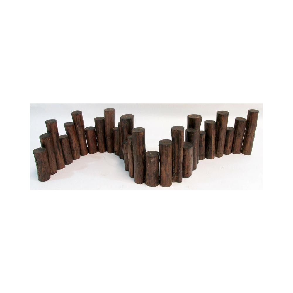 10 in. H x 72 in. L Teak Wood Uneven Top Solid Log Edging