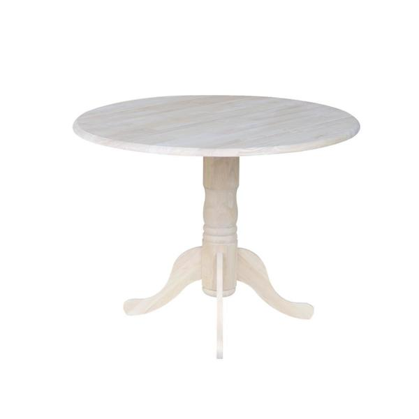 International Concepts Unfinished Round Drop Leaf Dining Table