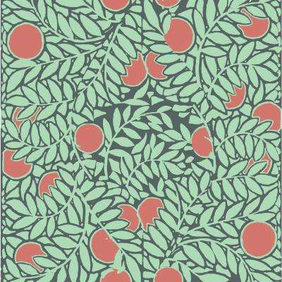 Debut Collection Orange Grove in Mint/Coral Removable and Repositionable Wallpaper