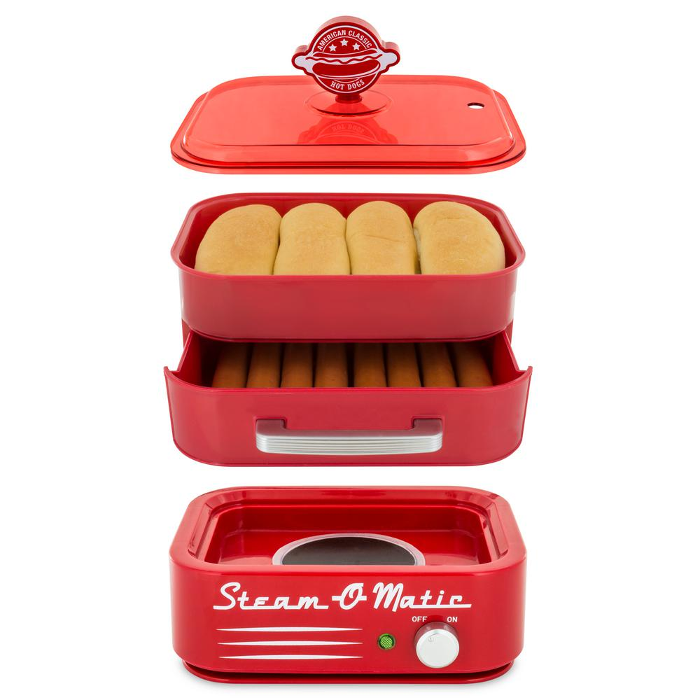 Steam-O-Matic Hot Dog and Bun Steamer, Red Steam authentic style hot dogs at home. A complete hot dog meal in one machine. Easy to use and clean. Color: Red.