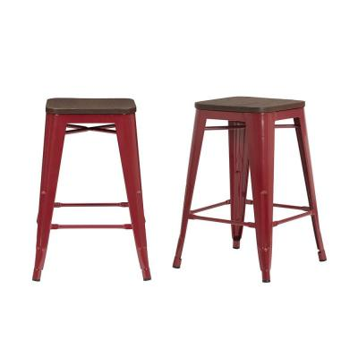 Finwick Chili Red Metal Backless Counter Stool with Wood Seat (Set of 2) (16.54 in. W x 23.62 in. H)
