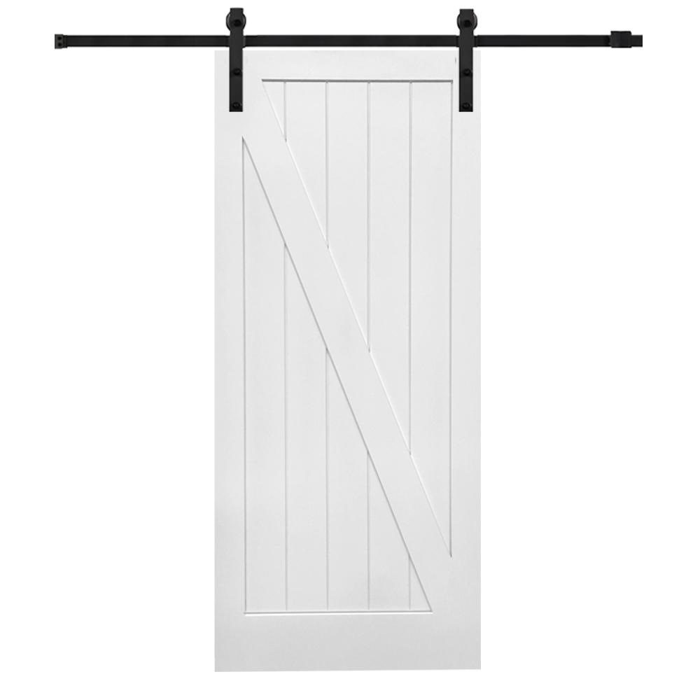 MMI Door 36 in. x 84 in. Primed Composite Z-Plank Barn Door with Matte Black Hardware Kit was $546.0 now $379.0 (31.0% off)